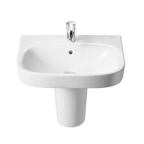 Roca Debba Square Basin With Semi Pedestal - 650mm - 1 Tap Hole - White